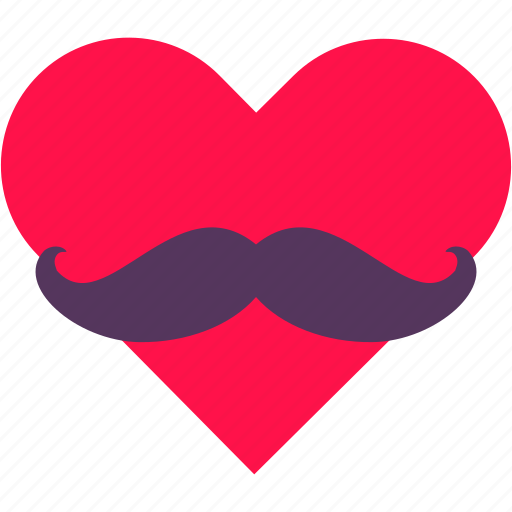face, heart, love, male, man, moustache icon