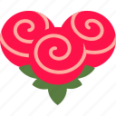 heart, flower, love, bouquet, rose, bunch