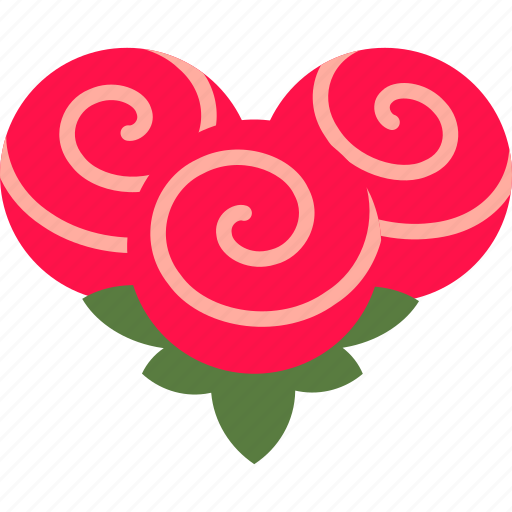 bouquet, bunch, flower, heart, love, rose icon