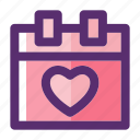 calendar, date, dating, heart, love, valentine, valentine day icon
