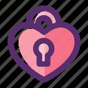 heart, heart padlock, love, padlock, romance, valentine, valentine day icon