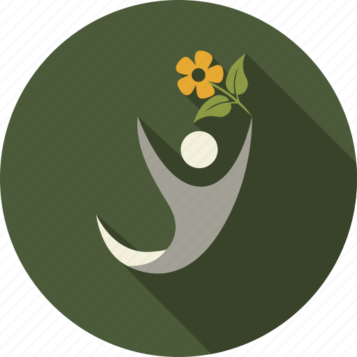 flower, green, leaves, love, man, nature, person icon
