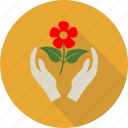 flower, green, hand, leaf, leaves, love, nature icon