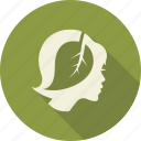 green, head, leaf, leaves, love, nature, woman icon