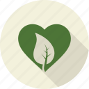 environnement, green, heart, leaf, leaves, love, nature icon