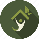 green, houme, leaf, leaves, love, nature, person icon