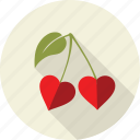 cherrys, fruit, green, heart, leaves, love, nature icon