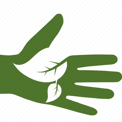 green, hand, leaf, leaves, love, nature, open icon
