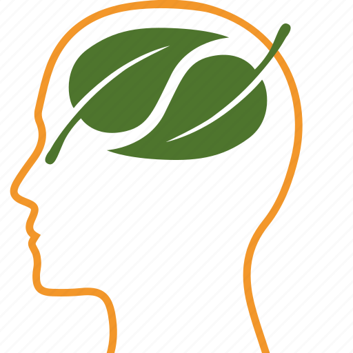 brain, green, leaf, leaves, nature, person, think icon