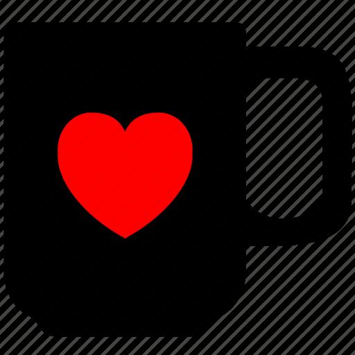 coffee, cup, heart, love, tea icon