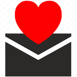 heart, letter, love, message icon