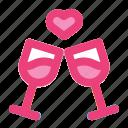 cheers, glass, heart, love, romance, valentine, wine icon