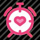 alarm, clock, heart, love, romance, time, wedding icon