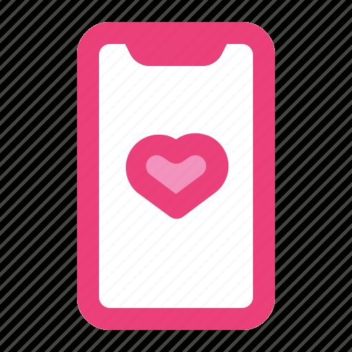 call, heart, love, phone, romance, smartphone, valentine icon