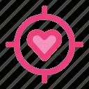 focus, heart, love, romance, shoot, target, valentine icon