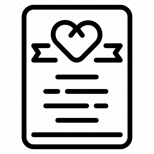 certificate, love, marriage, wedding icon