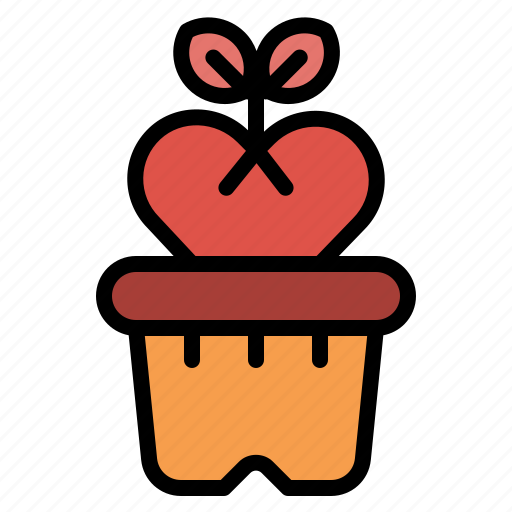Flower, grow, heart, love, plant, romance icon - Download on Iconfinder