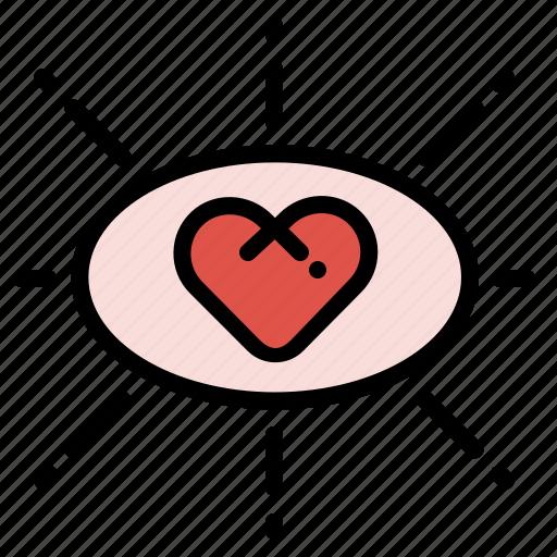 eye, falling, heart, in, love, romance icon