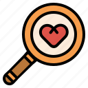 find, heart, love, magnifier, romance, search icon