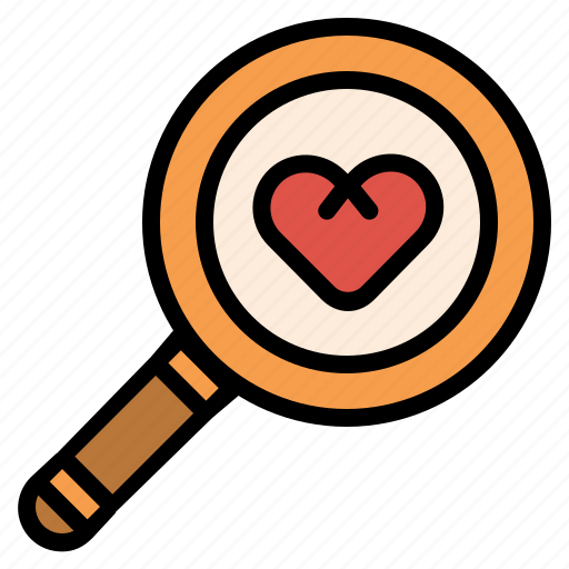 Find, heart, love, magnifier, romance, search icon - Download on Iconfinder