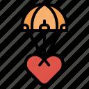 heart, love, parachute, valentine