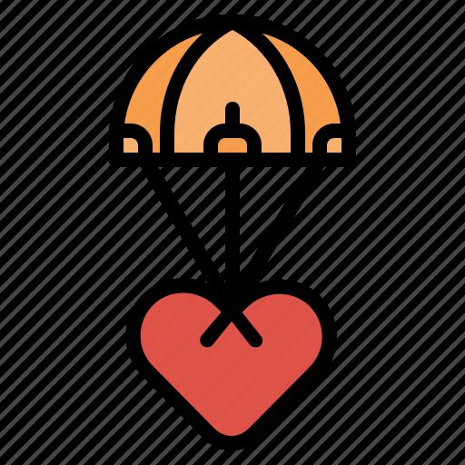 Heart, love, parachute, valentine icon - Download on Iconfinder