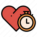 clock, heart, love, time icon