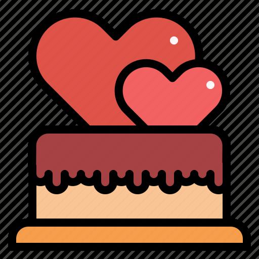 cake, heart, love, sweet, valentine icon