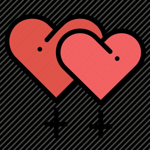 Female, gender, heart, lesbian, love, sign, valentine icon - Download on Iconfinder