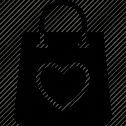 hand bag, heart, shopping bag, valentine gift icon