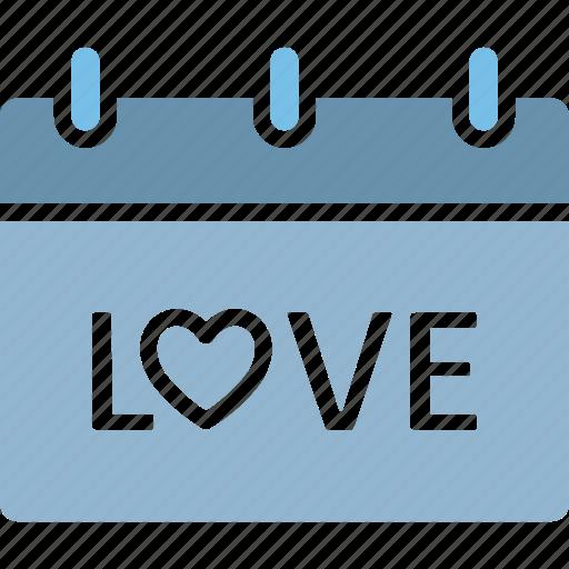 love, love calendar, love day, valentine day icon
