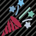 confetti, confetti poppers, party popper, streamers icon