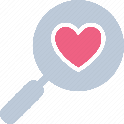 exploring love, find partner, heart, magnifier icon
