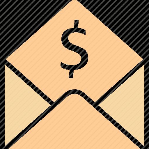 bill, dollar, envelope, letter icon