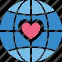 globe, heart, love travel, love world, peace icon