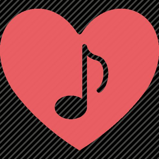 heart, quaver, romantic music, romantic song icon