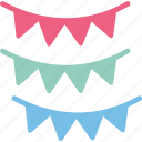 party decoration, party flags, pennants, small flags icon