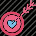 heart, heartbreak, hurt, love target icon