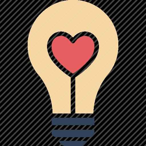 fall in love, heart, heart bulb, lightbulb icon