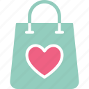 hand bag, heart, shopping bag, valentine gift icon