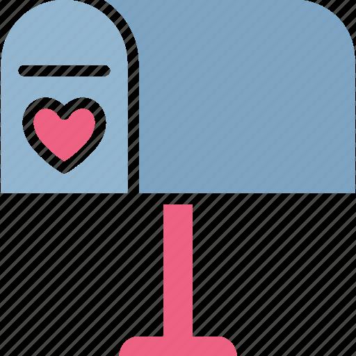 heart, letter box, love correspondence, love theme icon