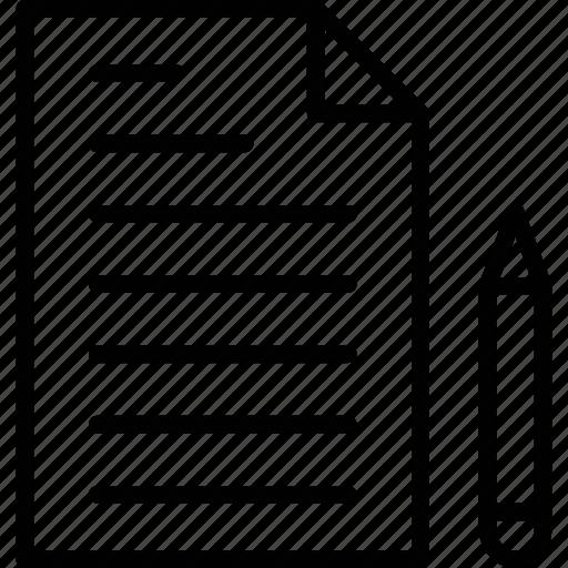 edit, paper, pen, sheet, writing icon