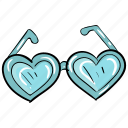 heart goggles, love glasses, love shades, shades, specs, spectacles, sunglasses icon