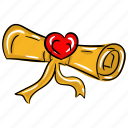 love letter, love message, love scroll, scroll letter, valentine letter icon