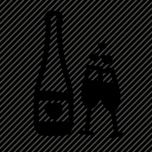 glasses, heart, love, romantic, valentine day, wedding, wine icon