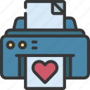 printing, heart, loving, passion, note