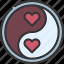 ying, yang, hearts, loving, passion