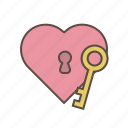 heart, key, love, valentines, with icon