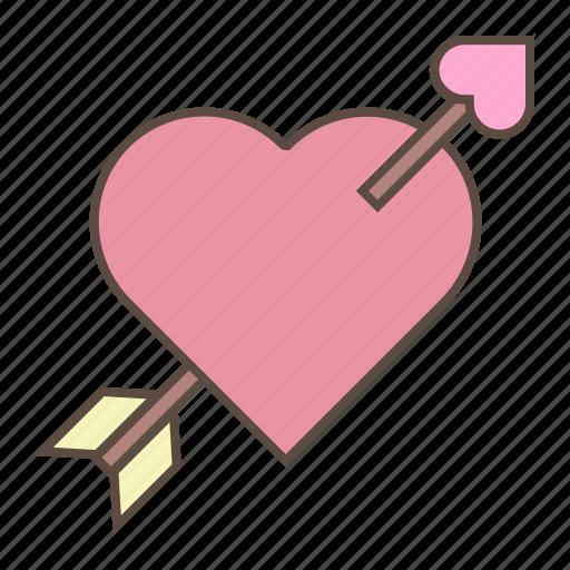 arrow, heart, love, romance, valentines icon
