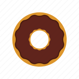 breakfast, chocolate, chocolate donut, donut, eating icon